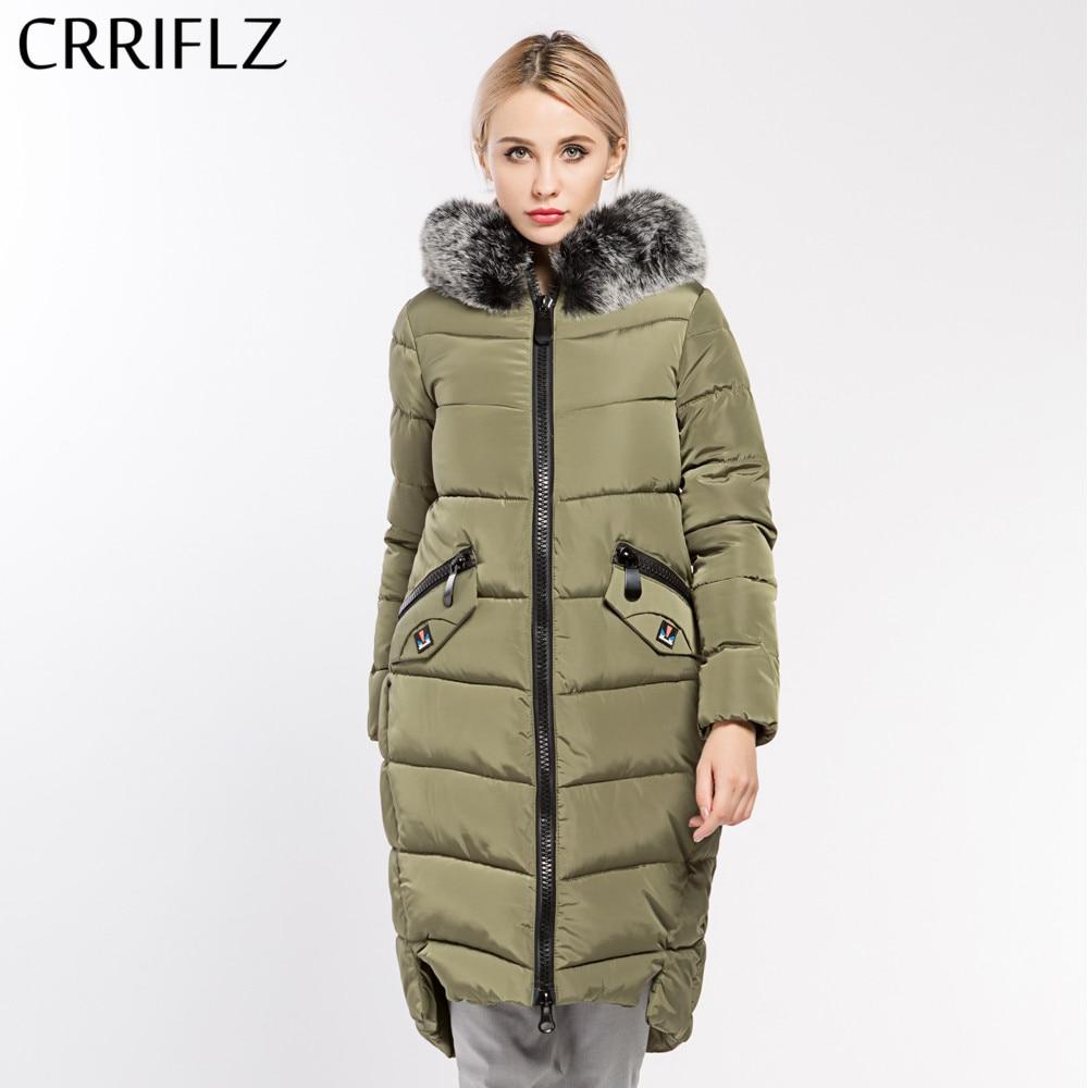 Women Jacket Coat Warm Woman Parka Jacket Fur Collar Detachable 100% Polyester Soft Fabric CRRIFLZ New Winter Collection