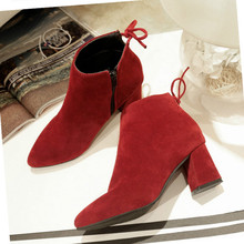 New Women Boots Shoes Winter Scrub Bow 6cm Thick High Heel Plus Velvet Warm Boots Casual Martin Boots Female Pumps Booties Shoes