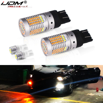 цена на No Hyper Flash CANBUS Amber/White Dual Color T20 7443 LED Turn Signal Light Bulbs White T10 LED Parking Lights For Ford Mustang