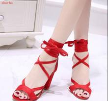 Red and black Women Sandals Plus Size Summer Ankle Strap High Heeled Sandals Female Cross Tied Lace Up Wedding Shoes(China)