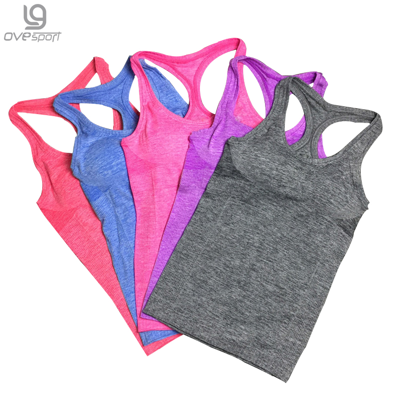 2016 Nylon / spandex Active Zomer Dames Tank Top Fitness Bh Bh Dubbellaags Sneldrogende Dames Fitness Tops Workout Vest 1014