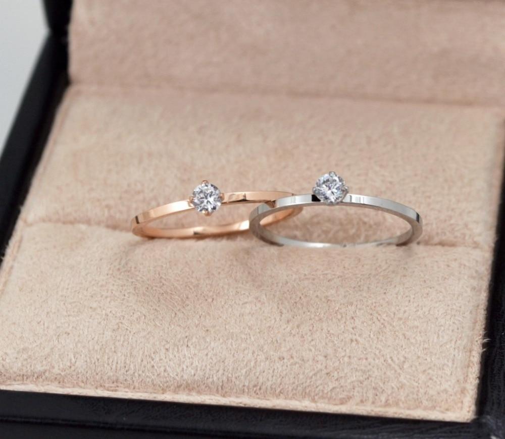 2020 Enkel vacker smal rostfritt stål kristallring för kvinnor - Märkessmycken - Foto 6
