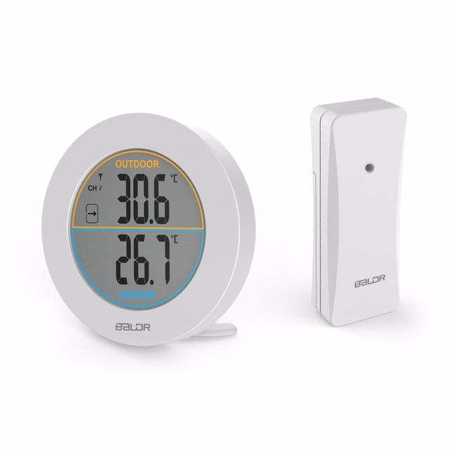 baldr round shape wireless thermometer table indoor. Black Bedroom Furniture Sets. Home Design Ideas