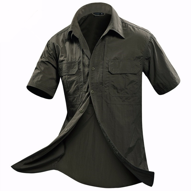 brand Summer Military Tactics Men Short Sleeve Shirt Mens Loose Out door  Fashion Casual Quick dry Half-sleeve Breathable Shirts eaccb7034