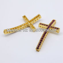 Wholesale 50pcs/Lot Fashion Fuchsia Rhinestone Gold Color Curved Side ways Cross Connectors Beads For Bracelet Jewelry Findings