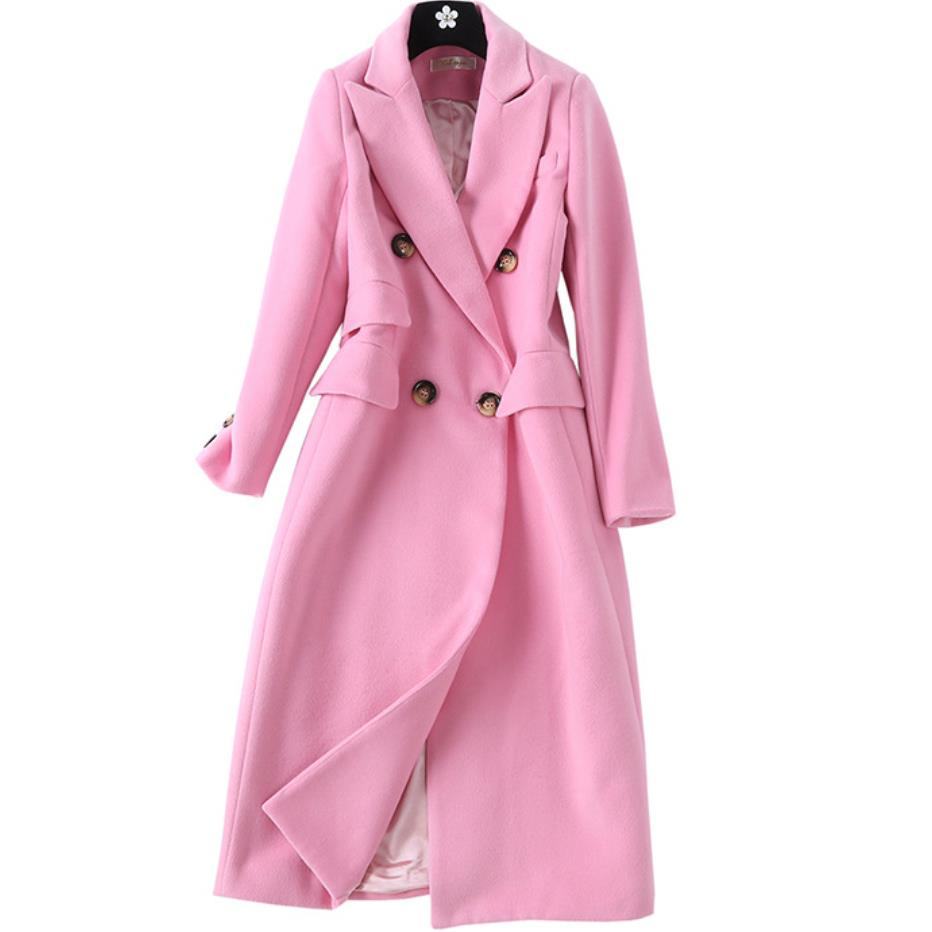 Wool Coat 2019 Winter New Pink Long Coat Women Turn down Collar Double Breasted High Quality Cashmere Coat
