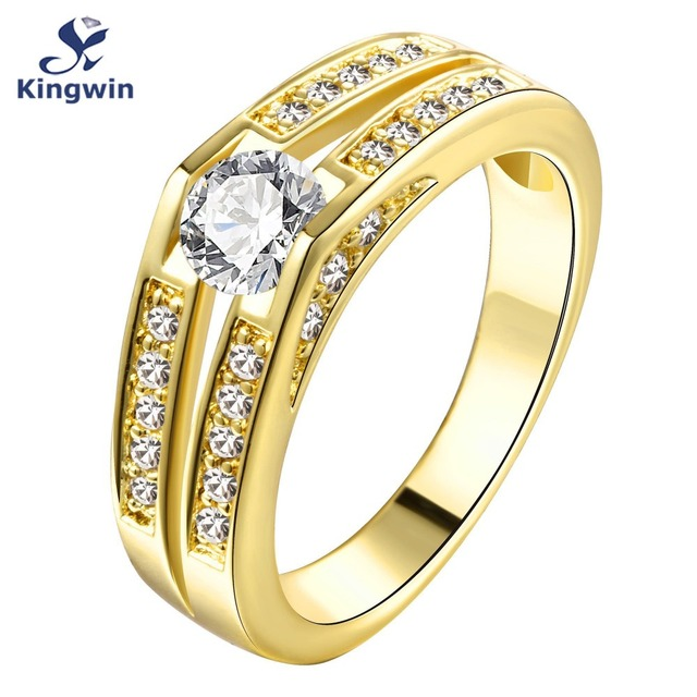 Fine yellow or rose gold plated engagement rings women cz diamond-jewelry wholesale bridal accessory 2016 hot sale