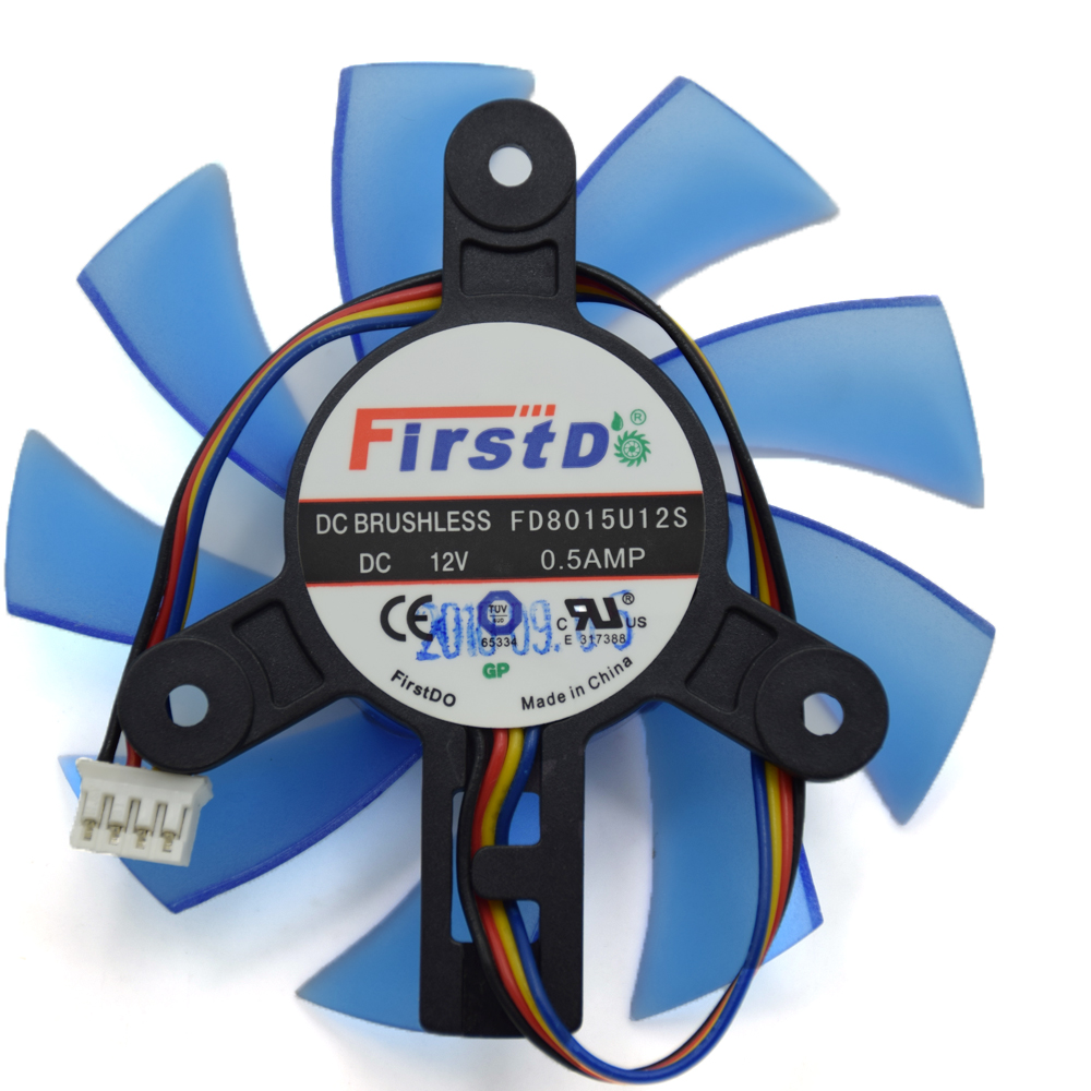 Original 75MM FirstD FD8015U12S DC 12V 0.5AMP 4Wire 4Pin Cooling Fan For HIS HD5830 HD5850 5870 R7-260X Graphics Card Cooler Fan free shipping diameter 75mm computer vga cooler video card fan for his r7 260x hd5870 5850 graphics card cooling