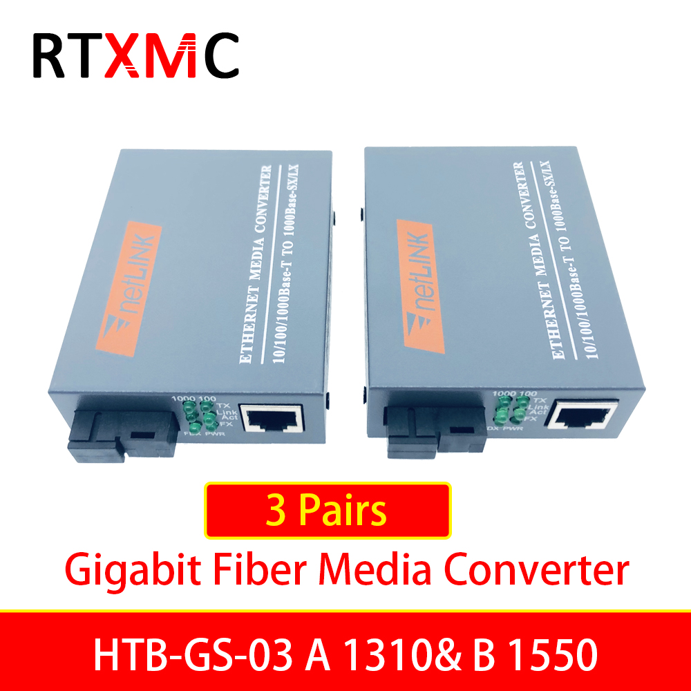 3 Pairs HTB-GS-03 Gigabit Fiber Optical Media Converter 10/100/1000Mbps Single Mode Single Fiber SC Port  External Power Supply(China)