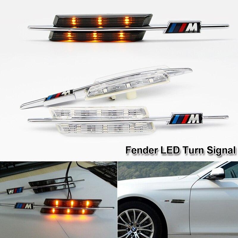 2X Super Bright LED Fender Side Marker Lights Turn Signals LED Lamp 12V For BMW E60 E61 E81 E82 E87 E88 E90 E91 E92 E93 M Logo 2x e marked obc error free 24 led white license number plate light lamp for bmw e81 e82 e90 e91 e92 e93 e60 e61 e39 x1 e84