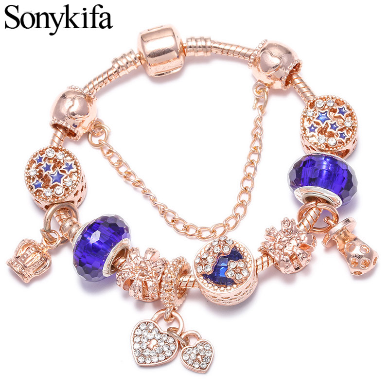 Sonykifa Original Rose gold blue Classic Pandora Bracelet Bangle  DIY Love shape Crystal Charm Bracelet for Women Gift(China)