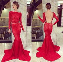 2014 New Arrival Sexy Red Mermaid Open Back High Neck Long Sleeves Lace Formal Evening Dress Women Gown Free Shipping WL224