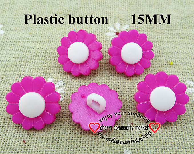 100PCS 15MM sunflower shape purple Dyed Plastic cartoons buttons coat boots sewing clothes accessories P-045-2