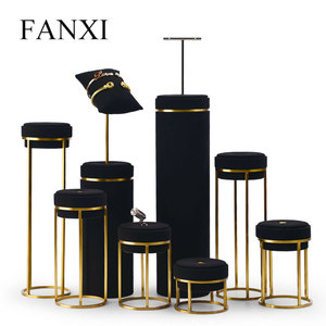 Image 4 - FANXI Jewelry Display Leather Necklace Earring Bracelet Display Stand Neckalce Bust Display Setwith Metal Base