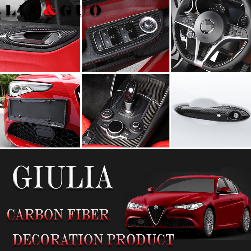 Full set of High quality carbon fiber Interior modification Accessories case for Alfa Romeo Giulia Car styling