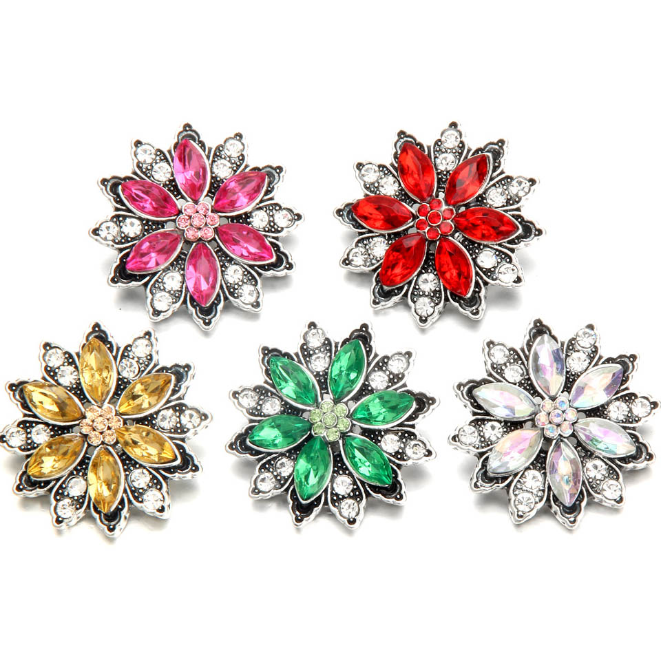 10pcs/lot New Flower Snap Buttons Jewelry Mini Beads Crystal Flowers 18mm Snap Button Fit Charm Bracelet Interchangeable Jewelry