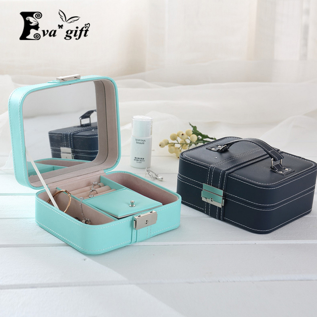 New handle jewelry box with mirror Necklace Earring Jewellery