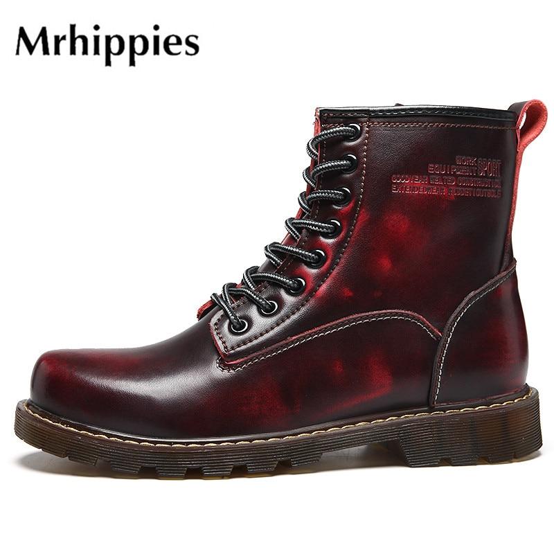 mrhippies Leather High Botas Male Hombre Original Brand Shoes for Four Seasons Casual Martin Botas Designer