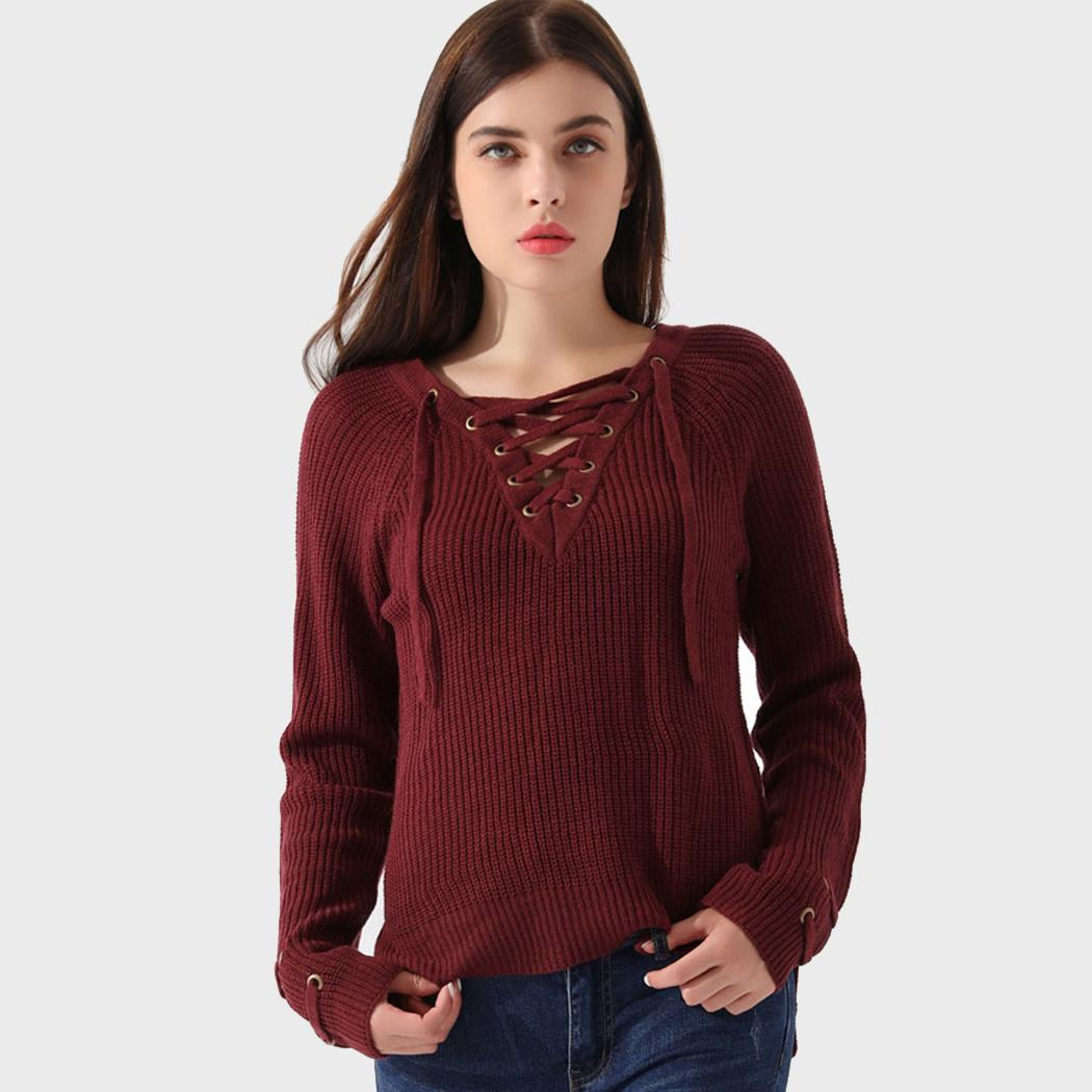 Winter Sweater Women Sweaters Knitted Christmas Sweater Front Drawstring Sexy V Neck Full Sleeves Pullover Tops Poncho Plus Size