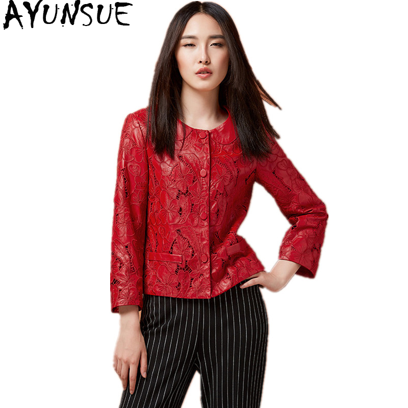 AYUNSUE 2018 Fashion Women Genuine Leather Jacket Hollow Out Natural Sheepskin Coat For Women Red Real