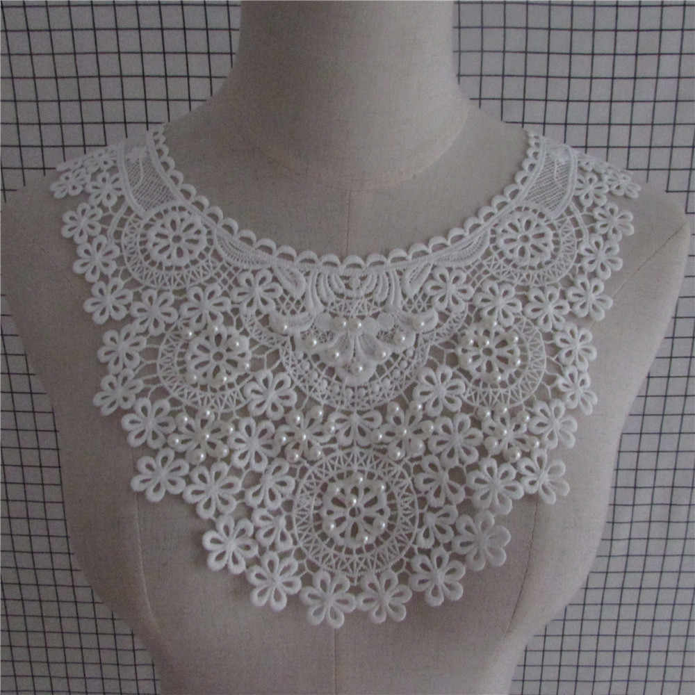 2017 Hot Sale Craft Collar white pearl Floral Lace Applique Trim Decorated DIY Neckline Sewing Dress Decor 1pcs sell YL643