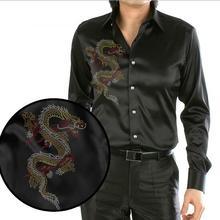 Loldeal Black Design Chinese Dragon Printing Men's Silk Shirt Casual  Men Long Sleeve  Summer Wedding Dress Shirt Party Shirt