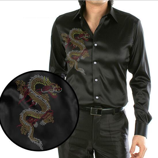 Schwarz Design Chinesischen Drachen Druck Männer Silk Shirt Lässig Männer Langarmshirt Sommer Hochzeit Kleid Hemd Partei Hemd