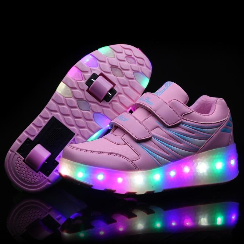 2017 New Children LED Roller Skate Shoes With Wheels Girls Boys Light Black Pink Kids Shoes Junior Sneakers With One/Two Wheels children roller sneaker with one wheel led lighted flashing roller skates kids boy girl shoes zapatillas con ruedas