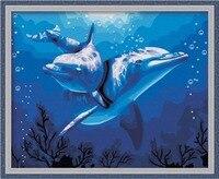 Mahuaf-x194 presente pintura a óleo digital sobre tela pintado à mão conjunto de oceano dolphin 40x50 pintura do retrato da parede emoldurado by numbers