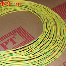 6 М 9 мм Диаметр 2:1 Двойной Цвет Линии Земля Кабель Огнестойкий Желто-Зеленый Желтый и Зеленый Тепла сокращение Трубки Термоусадочные Трубки