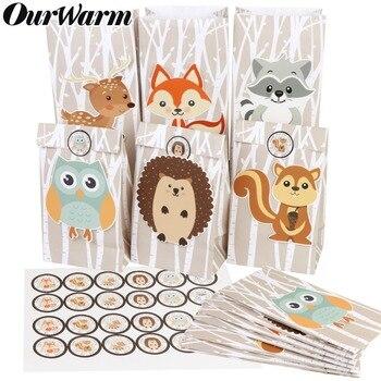 OurWarm, 12 Uds., bolsa de regalo de papel para animales de Safari, decoración para fiestas en jungla, dulces bolsas para envasado de dulces, suministros de fiesta de cumpleaños en bosque