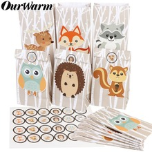 OurWarm 12Pcs Safari Animals Paper Gift Bag Jungle Party Decorations Sweet Candy Packaging Bags Woodland Birthday Supplies