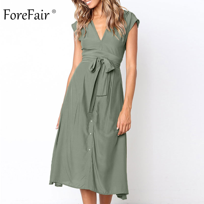 2ec78fd7236 Forefair V Neck Short Sleeve Chiffon Dress Sexy Ruched Front Buttons  Bandage Party High Waist A