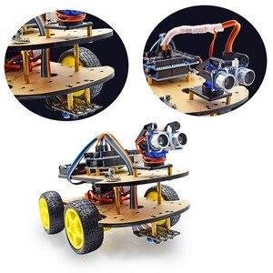 Image 2 - Nouveau moteur de suivi dévitement Bluetooth Robot intelligent Kit de châssis de voiture module ultrasonique dencodeur de vitesse pour kit Arduino
