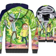 Rick and Morty 3D Print Hoodie Men Funny Hooded Sweatshirt 2018 Winter Thick Fleece Warm Zip up Coat Casual Anime Jacket Mens