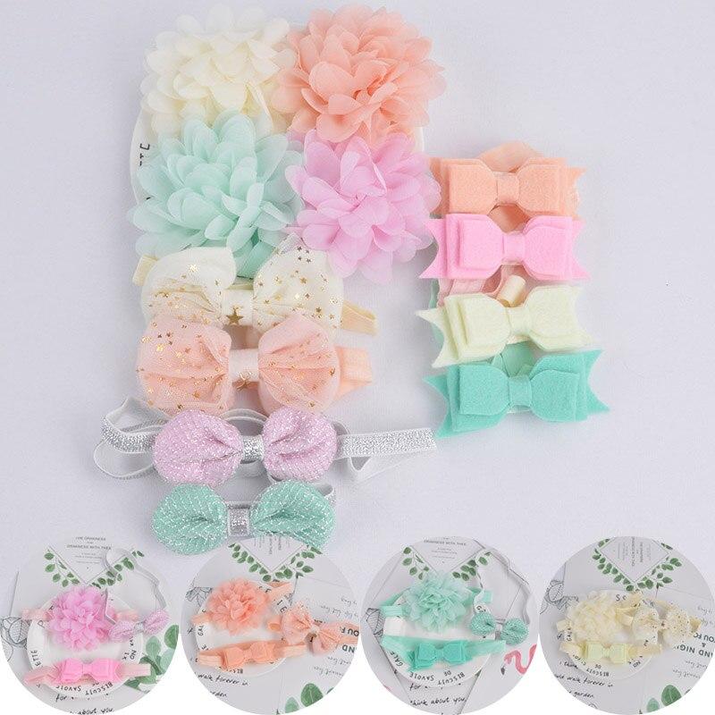 Fashion Nice Princess Kids Headwear 3pcs Hair Bands Accessories Flower Bowknot Elastic Headbands