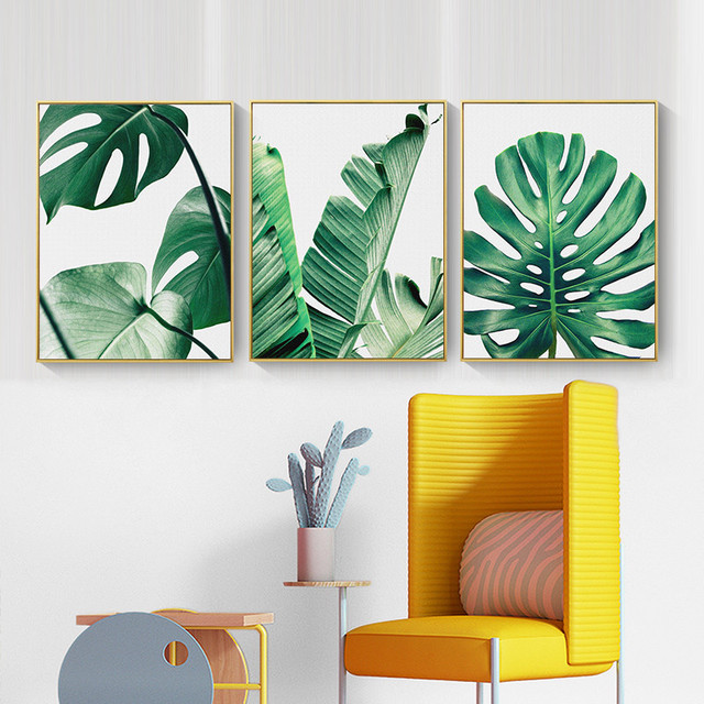 Nordic Canvas Painting Green Leaf Wall Art Home Decor Picture Diy