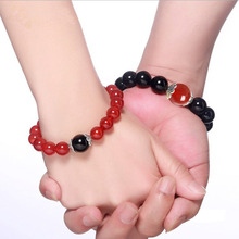 Natural agate 12MM red and black beads with braided bracelet male female couple jewelry gift