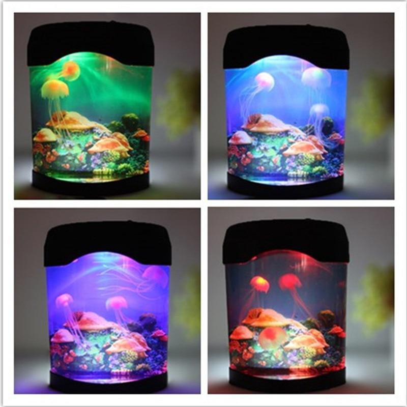 Novelty LED desktop decorative lights will move the jellyfish aquarium fish tank night light home decoration indoor lighting