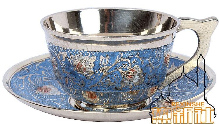 Dessert pur cuivre métal thé tasse ensemble soucoupes vin indien à la main café tasses thé cadeau