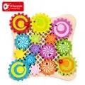 Классический мир натурального дерева ручной работы головоломки конфеты цвет шестерни игры Обучающие игрушки, пазлы для детей материал обу...
