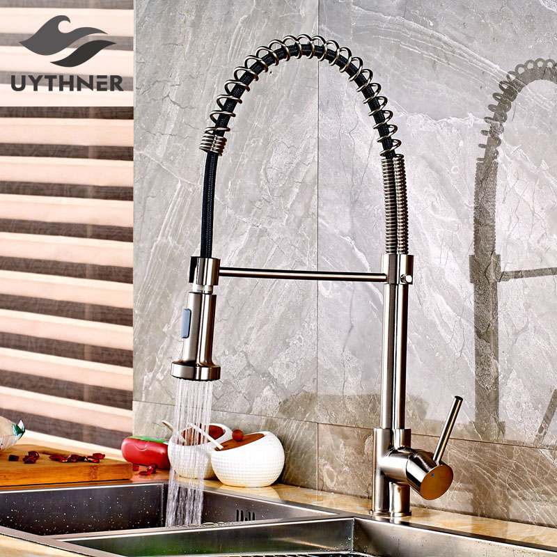 Uythner Brushed Nickle Spring Kitchen Faucet Mixer Tap Single Handle Single Hole with White Black Hose