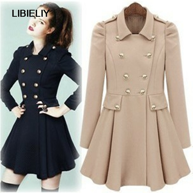 Pop Fashion Fall / Winter Puff Sleeve Double Breasted ...