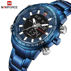 NAVIFORCE Watch Men Sport Watches Male Full Steel Quartz Digital Clock Waterproof Best Dropshipping Watch Relogio Masculino Blue