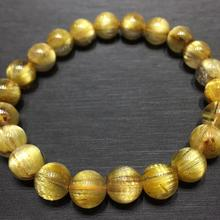 Certificate Natural Gold Rutilated Quartz Crystal Brazil 8.5mm Gemstone Round Beads Bracelet Jewelry Bangle AAAAAA