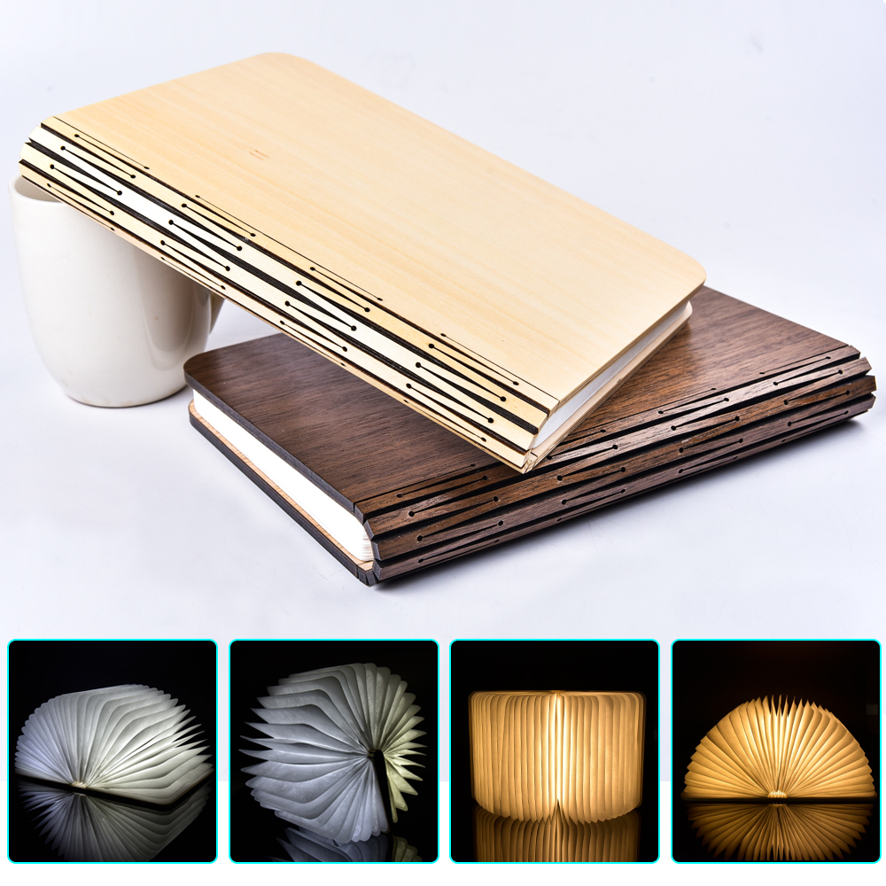 product RGB RGBWW WWW USB Rechargeable Folding LED Book Light Creative Home Decor Lamp Two Size 3 Color Cover Fancy Wooden Magnet Cover