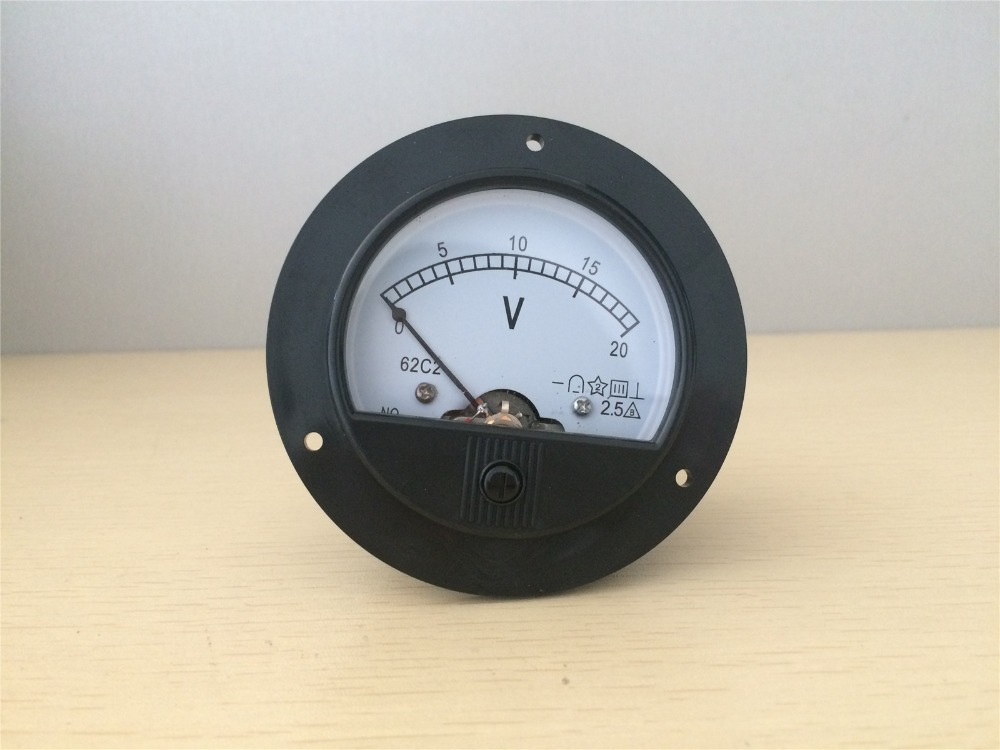 62C2 Round Analog Volt Panel Meter Voltage Meter DC 0-20V цена