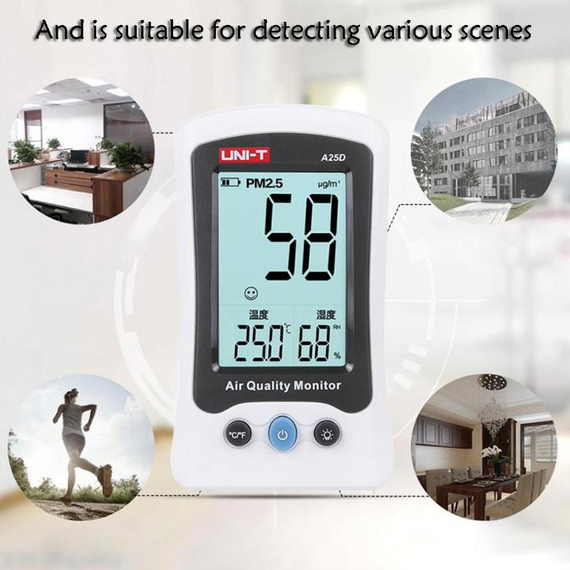 UNI-T A25D Air Quality Monitor HCHO PM2.5 Gas Analyzer Formaldehyde Detector Tester Temperature Humidity Meter Gas analyzer free shipping china hcho ch2o formaldehyde monitor environmental with temperature humidity