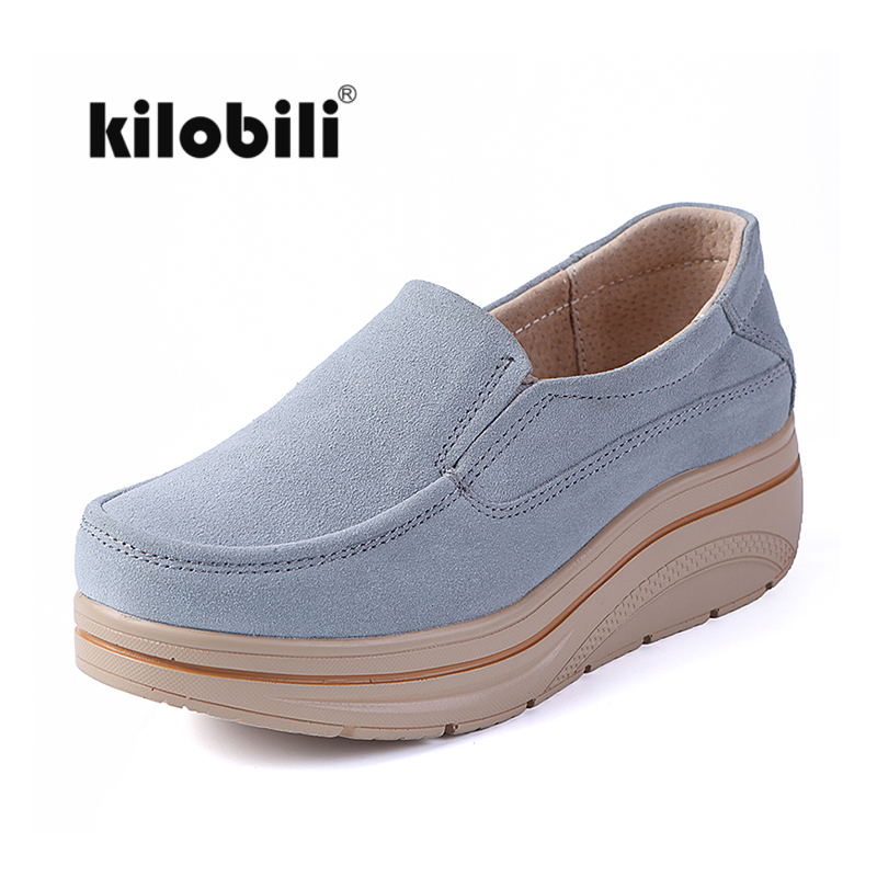 kilobili 2018 Autumn women flats shoes platform flat shoes leather suede casual shoes slip on flats Creepers footwear female