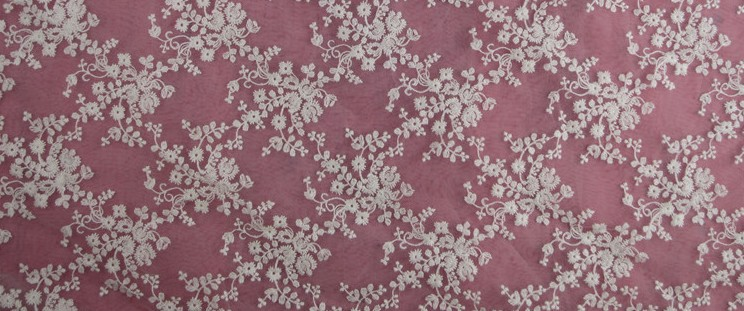 Organdy Flower Embroidery Lace Fabrics Wedding Dress
